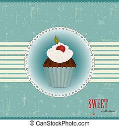 torta, ciliegia, cioccolato