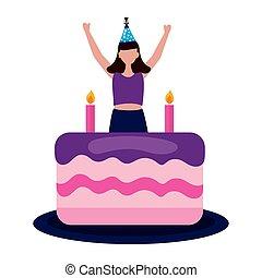 torta, donna, celebrazione, compleanno, felice