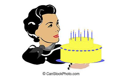 torta, donna, retro, maturo