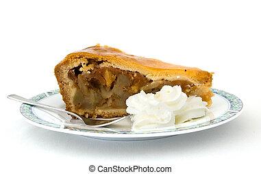 torta, mela, panna montata