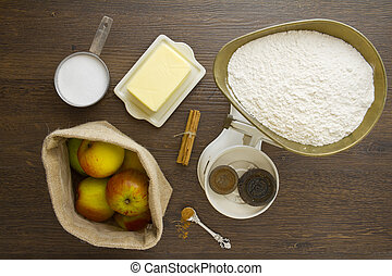 torta, mela, sopra, ingredienti