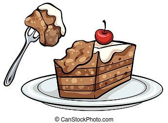 torta, piastra, fetta