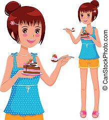 torta, ragazza, mangiare