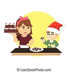 torta, ragazzo, mangiare, natale