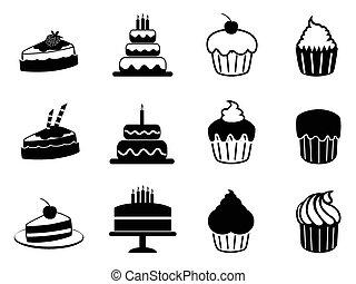 torta, set, icone