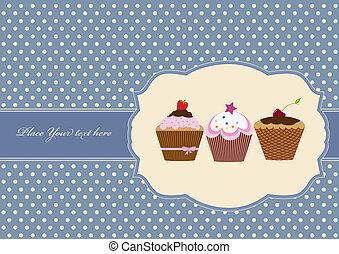 torta, tazza, disegno, cornice, vendemmia
