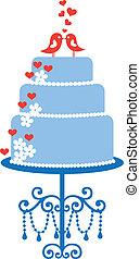 torta, uccelli, vettore, matrimonio