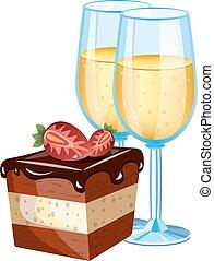 torta, vetro, champagne