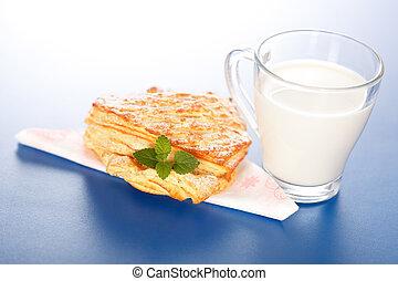 torta, vetro, mela, latte