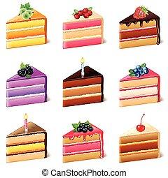 torte, vettore, set, icone