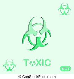 tossico, sfondo verde, segno