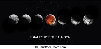 totale, vettore, eclissi, illustrazione, luna
