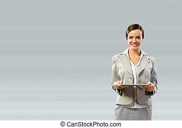 touchpad, affari donna, presa a terra