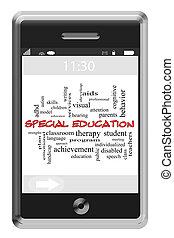 touchscreen, concetto, parola, telefono, nuvola, educazione, speciale