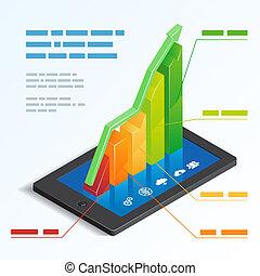 touchscreen, tavoletta, grafico, sbarra