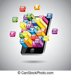 touchscreen, vettore, smartphone, illustrazione