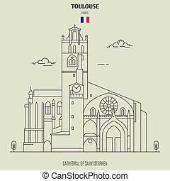 toulouse, france., cattedrale, punto di riferimento, santo, icona, stephen