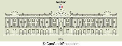 toulouse, france., punto di riferimento, municipio, icona