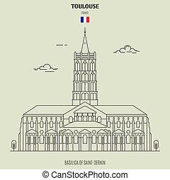 toulouse, france., punto di riferimento, saint-sernin, basilica, icona