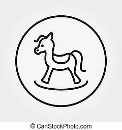 toy., editable, icon., horse., linea., magro, vector., oscillante, universale