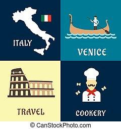 tradizionale, appartamento, viaggiare, italiano, icone