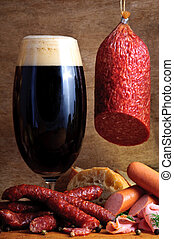 tradizionale, birra, salsicce