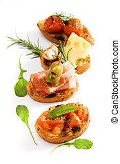 tradizionale, bruschette, italiano, antipasto