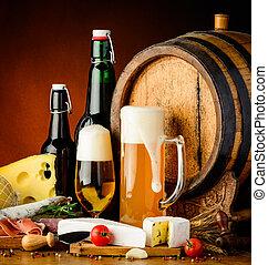 tradizionale, cibo, birra