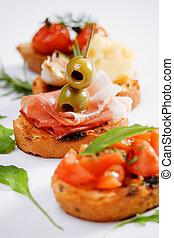 tradizionale, cibo, bruschette, italiano, antipasto