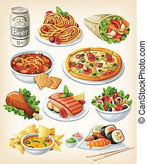 tradizionale, cibo, set, icons.