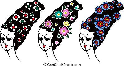tradizionale, donna, illustrazione
