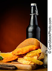 tradizionale, fish, patatine fritte, birra