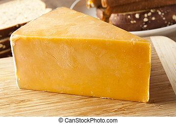 tradizionale, formaggio, cheddar, giallo