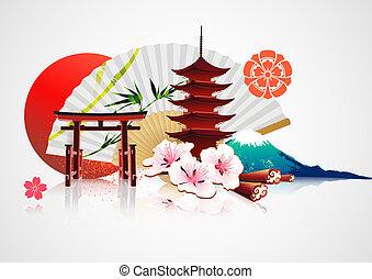 tradizionale, giapponese, fondo