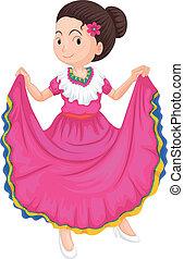 tradizionale, ragazza, vestire