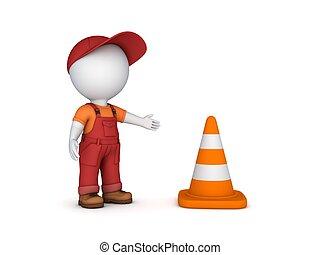 traffico, persona, cone., 3d, piccolo