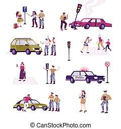 traffico, polizia, set, icone