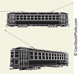 tram, carrello, vecchio