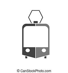 tram, vettore, silhouette, icona