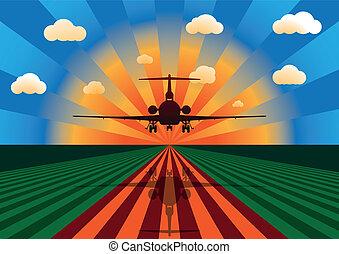tramonto aeroplano, atterraggio
