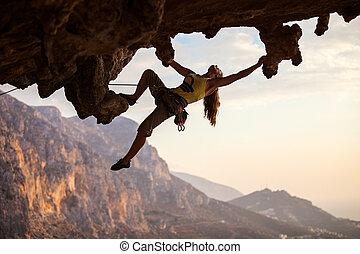 tramonto, arrampicatore, roccia