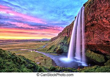 tramonto, cascata, seljalandfoss, islanda