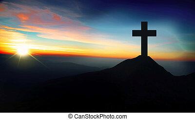 tramonto, collina, cristiano, croce
