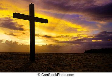 tramonto, cristiano, croce, fondo