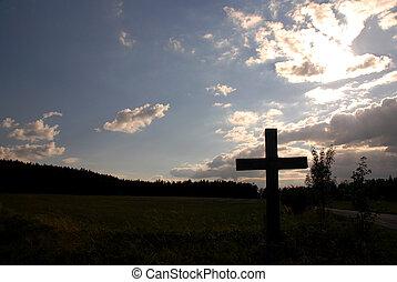 tramonto, croce