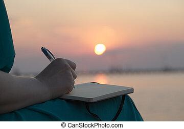 tramonto, donna, diario, lei, scrittura