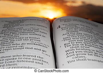 tramonto, evidenziato, nubi, 2., fondo, santo, malachi, bibbia, aperto, sole, capitolo, 4, verso, raggi