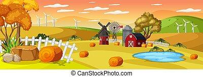tramonto, fattoria, orizzontale, tempo, scena, paesaggio