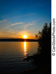 tramonto, lago, paesaggio