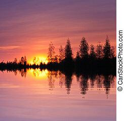 tramonto, lago riflessione